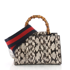 Gucci Nymphaea Top Handle Bag Python Mini Brown 3567643