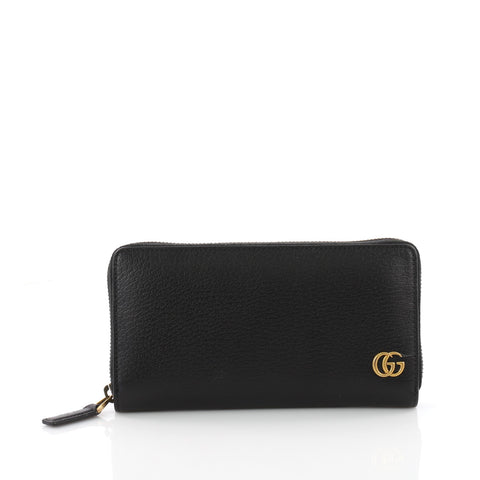 246a7260a9d5 Gucci GG Marmont Zip Around Wallet Leather Black 3567701 – Rebag