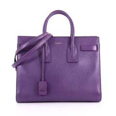 Saint Laurent Sac de Jour Carryall Handbag Leather Purple 3568202