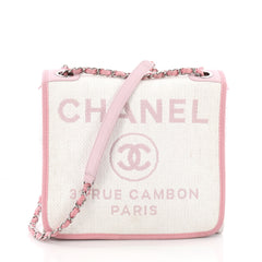 Chanel Deauville Messenger Bag Raffia Small Pink 3569202