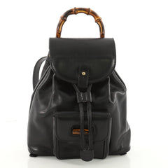 Gucci Vintage Bamboo Backpack Leather Mini Black 3569303
