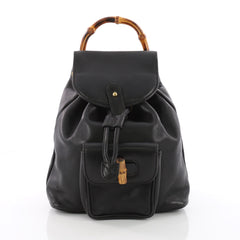 Gucci Vintage Bamboo Backpack Leather Mini Black 3569304