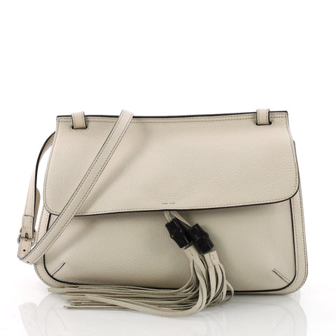 934f9a10719 Gucci Bamboo Daily Flap Bag Leather White 3572501 – Rebag