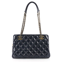Chanel Eyelet Tote Quilted Patent Small Blue 3574939