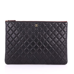 Chanel O Case Clutch Quilted Lambskin Large Black 3574942