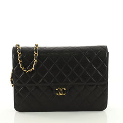 Chanel Vintage Clutch with Chain Quilted Leather Medium Black 3575729