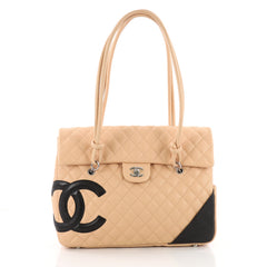 Chanel Cambon Flap Tote Quilted Leather Large Neutral 3576402