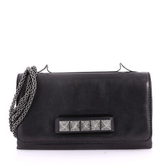Valentino Va Va Voom Clutch Crystal Studs Leather Medium Black 3577104