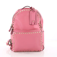 Valentino Rockstud Backpack Leather Medium Pink 3579405