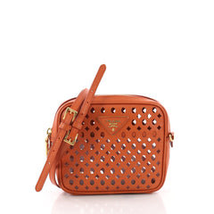 Prada Zip Crossbody Bag Perforated Saffiano Leather Mini 3579414