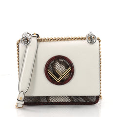 Fendi Kan I F Shoulder Bag Leather and Python Small White 3579416