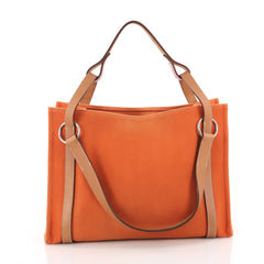 Hermes Cabalicol Tote Toile with Leather PM Orange 3580503