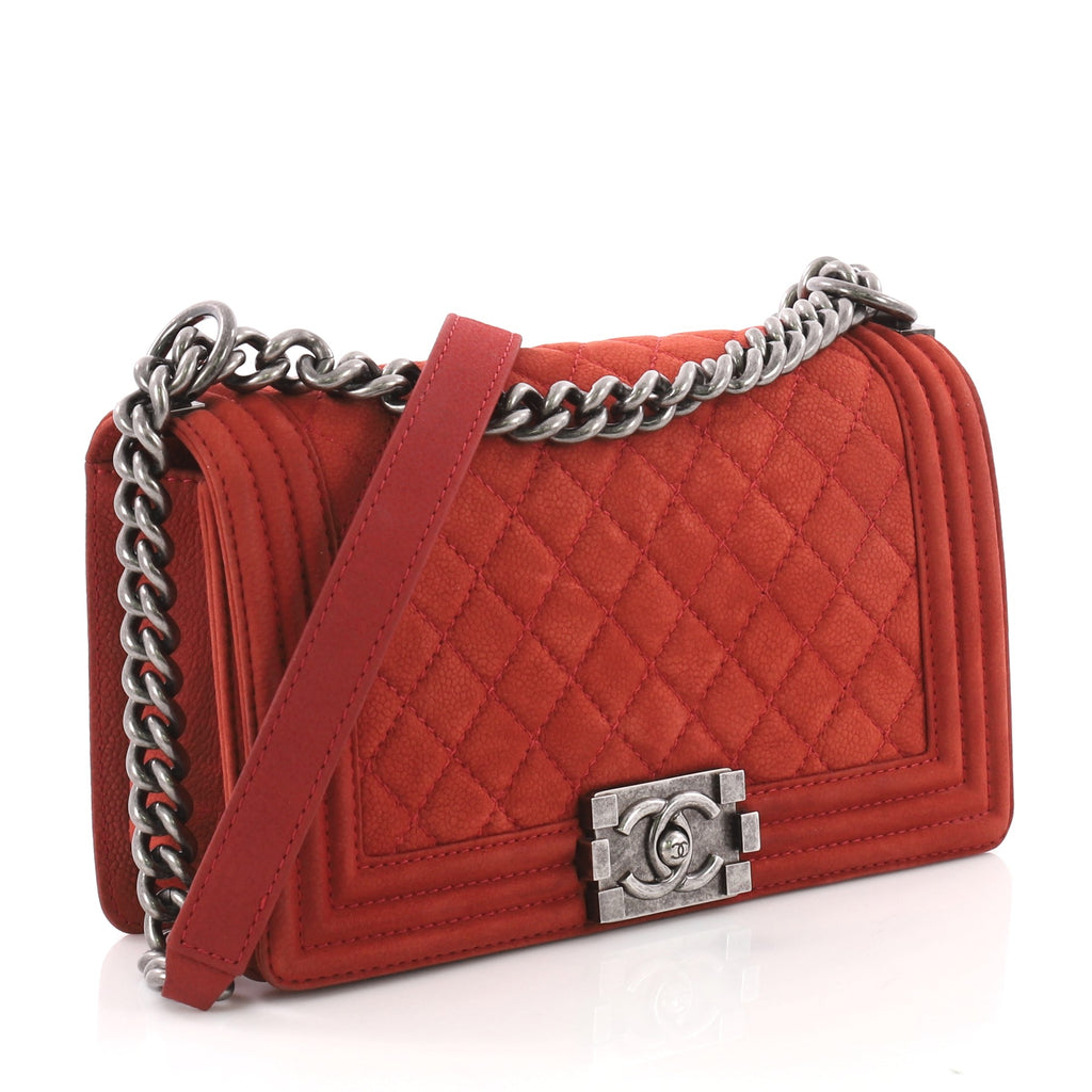 b36936f3e450 Chanel Boy Flap Bag Quilted Matte Caviar Old Medium Red 3580504 – Rebag