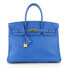 Hermes Birkin Handbag Blue Clemence with Gold Hardware 3581402