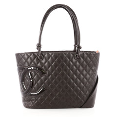 Chanel Cambon Tote Quilted Leather Large Brown 3582108