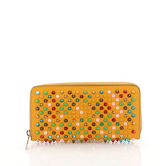 Christian Louboutin Panettone Wallet Spiked Leather Yellow 3582115