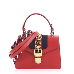 Gucci Sylvie Top Handle Bag Leather Mini Red 3582701
