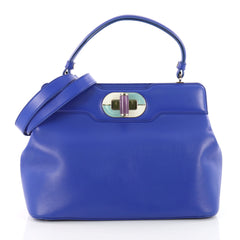 Bvlgari Isabella Rossellini Bag Leather Medium Blue 3582901