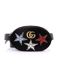 Gucci GG Marmont Belt Bag Embellished Matelasse Velvet Black 3583801