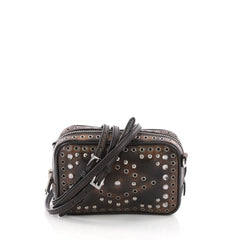 Prada Zip Crossbody Bag Studded Vitello Vintage Mini Brown 3584001