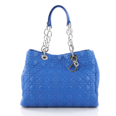 Christian Dior Soft Chain Tote Cannage Quilt Lambskin Large Blue 3584702