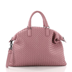 Bottega Veneta Convertible Satchel Intrecciato Nappa Medium Pink