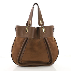 Chloe Paraty Side Zip Tote Suede with Leather Large Brown 3585702
