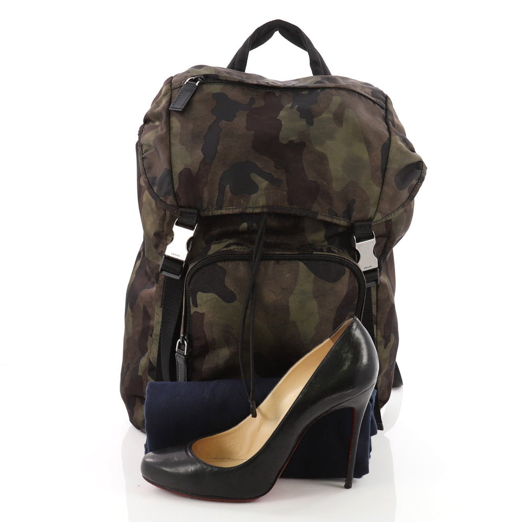 a93e921f7cc1 Prada Camouflage Backpack Tessuto Large Green 3586502 – Rebag