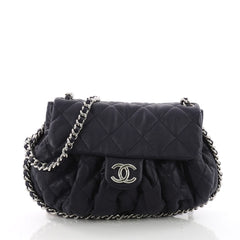 Chanel Chain Around Flap Bag Quilted Leather Medium Blue 3588505
