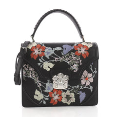 Alexander McQueen Flower Satchel Embroidered Leather Black 3591404