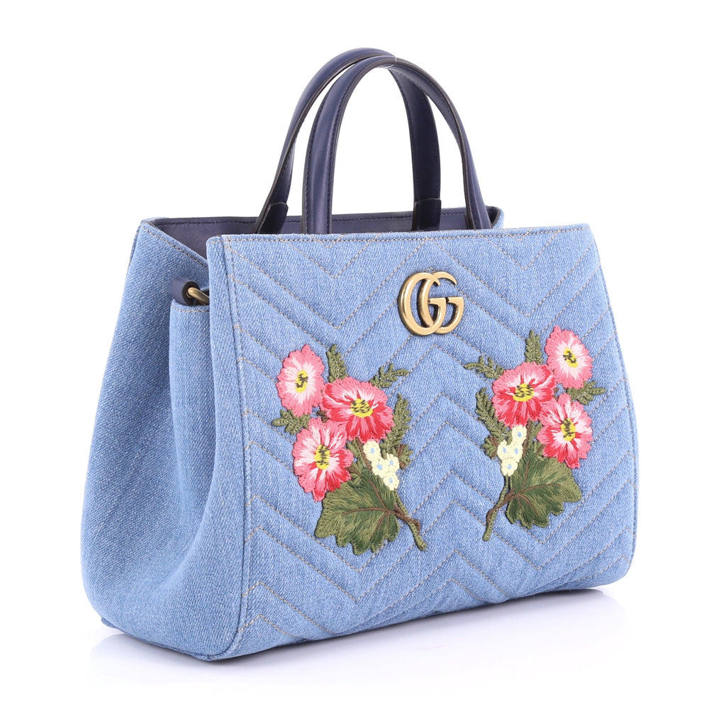 ba9967497d08 Gucci GG Marmont Tote Embroidered Matelasse Denim Small 3596210 – Rebag