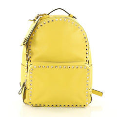 Valentino Rockstud Backpack Leather Medium Yellow 3596215