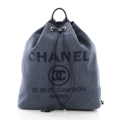 Chanel Deauville Backpack Canvas with Sequins Large 3596601