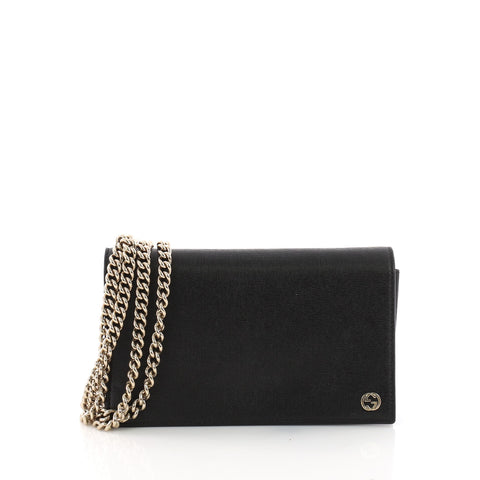00abfead605058 Gucci Betty Chain Wallet Leather Black 3596701 – Rebag