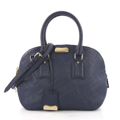 Burberry Orchard Bag Check Embossed Leather Small Blue 3598116