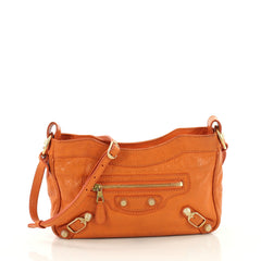 Balenciaga Hip Giant Studs Crossbody Bag Leather Orange 3598801
