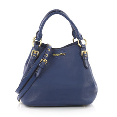 Miu Miu Madras Convertible Tote Leather Medium Blue 3599701