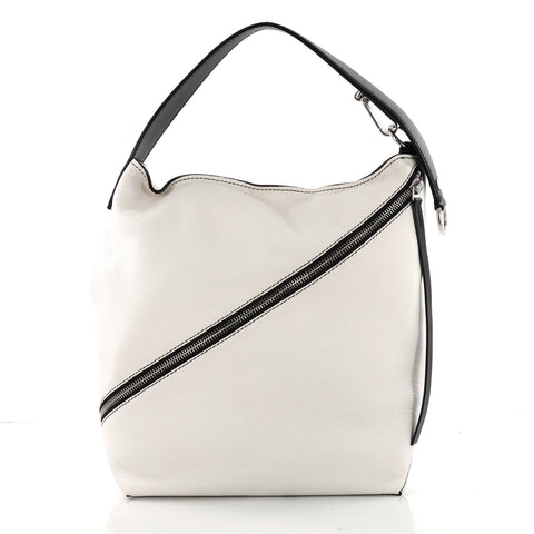 fd27a834b958 Proenza Schouler Zip Hobo Pebbled Leather Medium White 3600403 – Rebag