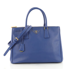 Prada Double Zip Lux Tote Saffiano Leather Medium Blue 3600702