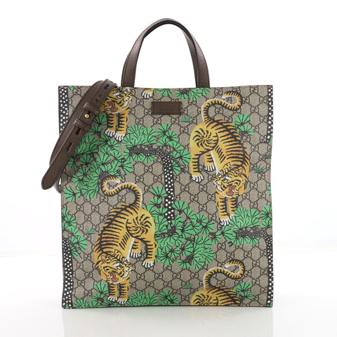 e697cf91481a Gucci Convertible Soft Open Tote Bengal Print GG Coated 3602702 – Rebag