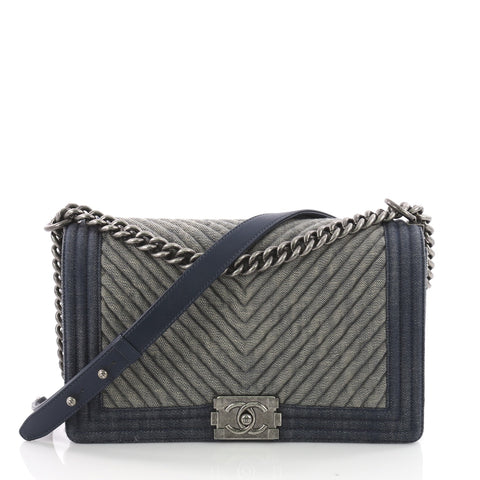 Chanel Boy Flap Bag Chevron Denim Old Medium - Rebag 51ebc8e4095e2