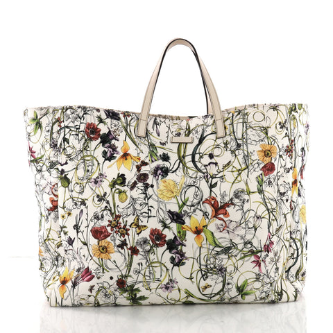 3f36ee78f157 Buy Gucci Open Tote Flora Canvas Large White 3603701 – Rebag