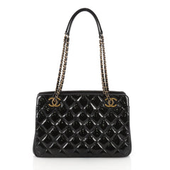 Chanel Eyelet Tote Quilted Patent Small Black 3606102