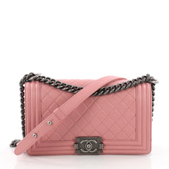 ef123fa42529 Chanel Boy Flap Bag Quilted Lambskin Old Medium Pink 3606108