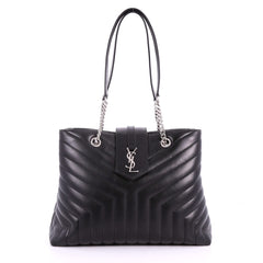 Saint Laurent LouLou Tote Matelasse Chevron Leather Black 3606701