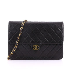 Chanel Vintage Clutch with Chain Quilted Leather Medium Black 36090/01