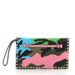 Valentino Rockstud Flap Clutch Camo Leather and Canvas Green 3611602