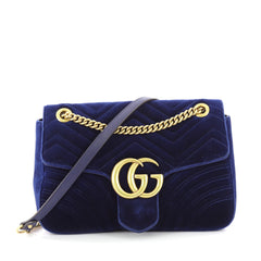 Gucci GG Marmont Flap Bag Matelasse Velvet Medium Blue 3611901