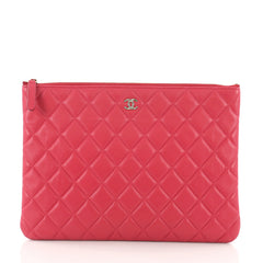 Chanel O Case Clutch Quilted Lambskin Medium Pink 3612208