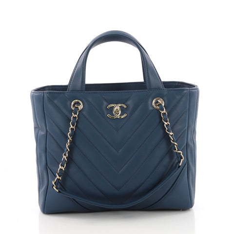 Buy Chanel Statement Shopping Tote Chevron Calfskin Small 3612402 – Rebag 29e4ff07cd685